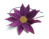 Lotus Flower Headband- Red-Violet with Fuchsia and Dusty Purple Embroidery- Embroidered and Beaded Lily Flower Headband