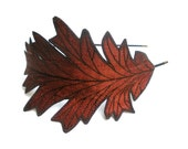Oak Leaf Headband- Unique Embroidered Autumn Leaf Headband- Rust with Dark Brown Embroidery - TheFaerieMarket