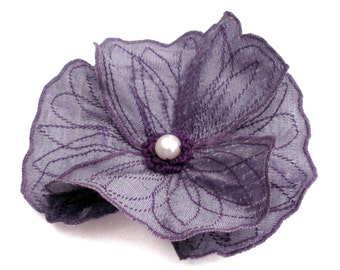 Purple Icelandic Poppy Flower Hair Clip- You Choose Clip or Brooch - Embroidered Silk Flower Fascinator- Old Lavender with Purple Embroidery