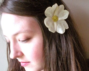 Dogwood Blossom Flower Clip- Your Choice of Hair Clip or Brooch- Embroidered Botanical Fascinator in Cream