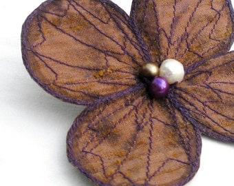 Botanical Hair Clip- You Choose Hair Clip, Bobby Pin, or Brooch- Shimmery Bronze with Purple Embroidery