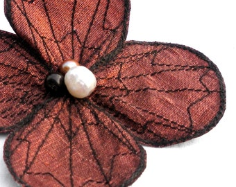 Botanical Hair Clip- You Choose Hair Clip, Bobby Pin, or Brooch- Shimmery Copper with Dark Brown Embroidery
