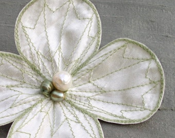 Water Clover Hair Clip- Your Choice of Hair Clip, Bobby Pin, or Brooch- Soft White with Pale Sage Green Embroidery- White Hair Flower
