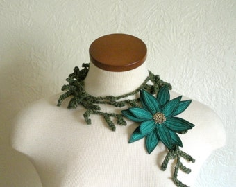 Teal Green Lotus Flower with Hunter Green Lariat Scarf- Fiber Art Scarf- Embroidered Silk Flower Lily Clip with Crochet Scarflette