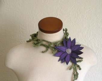 Eggplant Purple Lotus Flower with Green Lariat Scarf-  Fiber Art Scarf- Embroidered Silk Flower Lily Clip with Crochet Scarflette