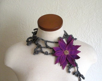 Red-Violet Lotus Flower with Grey Lariat Scarf-  Fiber Art Scarf- Embroidered Silk Flower Lily Clip with Crochet Scarflette