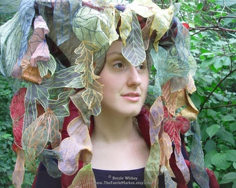 Jungle Headpiece with Red Roots II- A Fantasy Fiber Art Sculptural Hat