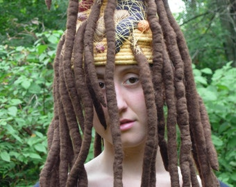 Queen of the Mudwasps- A Fantasy Fiber Art Sculptural Hat