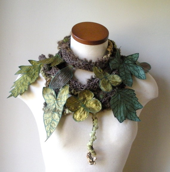Long and Leafy Scarf- Brown with Green Berries