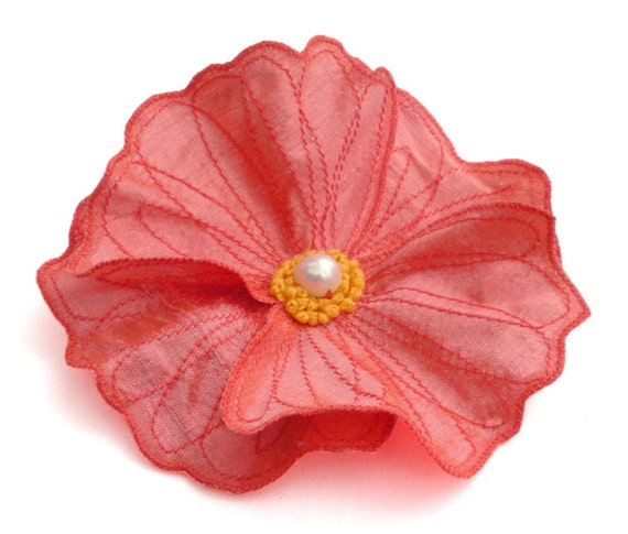 Salmon Pink Icelandic Poppy- Hair Barrette Clip Brooch- Embroidered Silk Flower Fascinator- Bright Salmon with Scarlet Red Embroidery