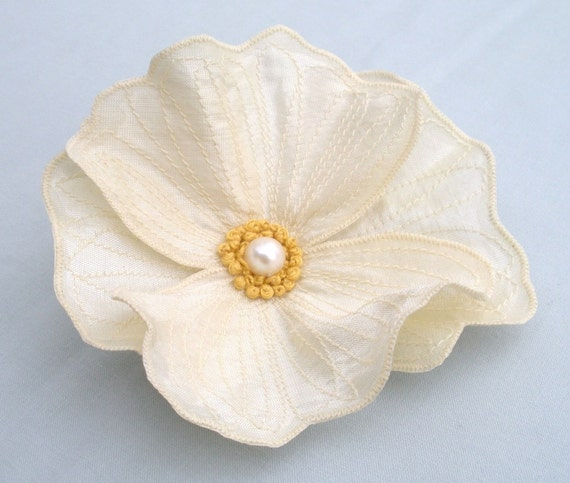 Cream Icelandic Poppy Hair Clip- You Choose Hair Clip or Brooch- Embroidered Silk Flower Fascinator- Cream with Cream and Gold Embroidery