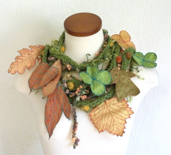 Long and Leafy Scarf- Green with Gold and Orange Berries