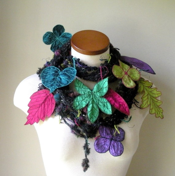 Long and Leafy Scarf- Tweedy Black with Teal, Green, Red-Violet, and Pink Berries