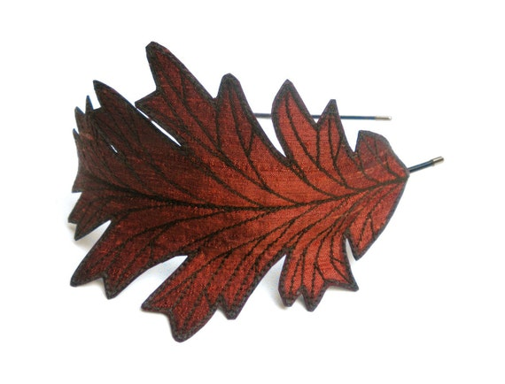 RESERVED- Oak Leaf Headband- Unique Embroidered Autumn Leaf Headband- Rust with Dark Brown Embroidery