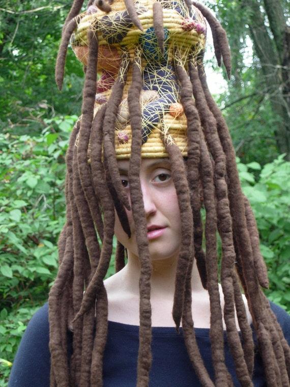 Queen of the Mudwasps- A Fantasy Fiber Art Sculptural Hat