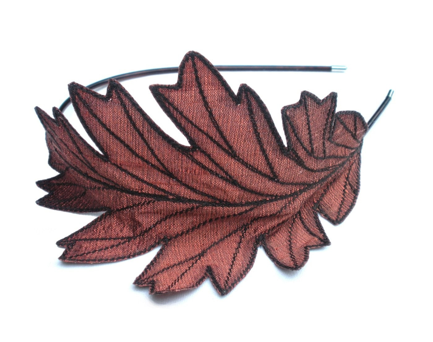 Reserved oak leaf headband unique embroidered by