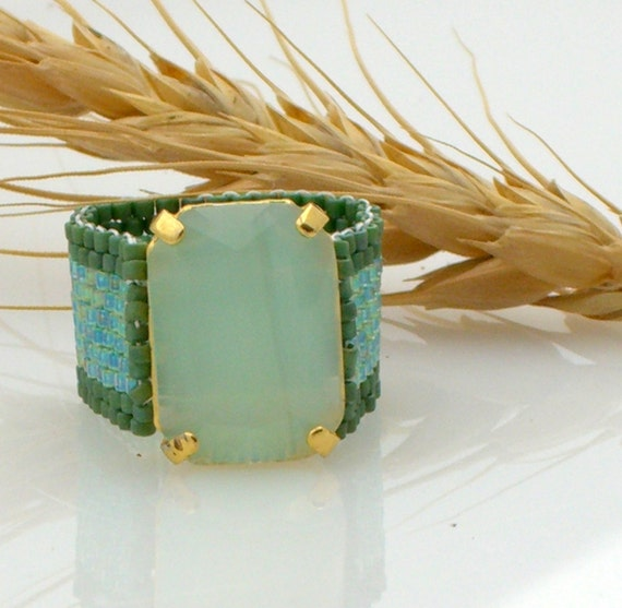 Valentine's Day SALE- Green woven ring
