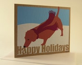 Happy Holidays Dachshund Card