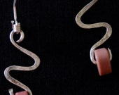 Hammered Sterling Silver Earrings with Coral Colored Beads