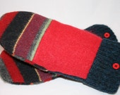 Felted wool mittens made from recycled wool sweaters, One of a kind
