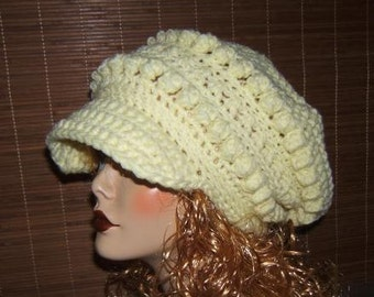 Crochet Slouchy Bobble Newsboy Hat Pattern