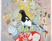 Magpie Cat  Original Painting on paper