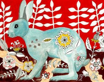 Flower Rabbit  Print of an original painting 8 x 10