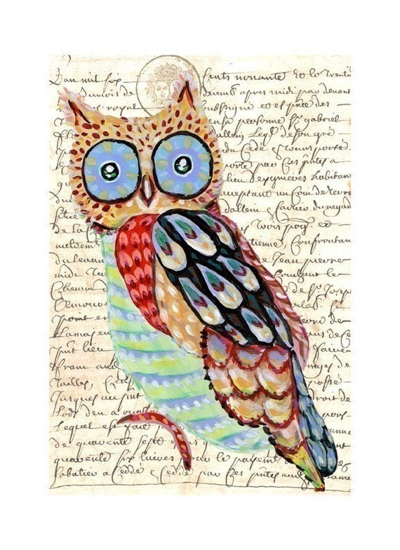 Whimsical Owl Painting art collage print