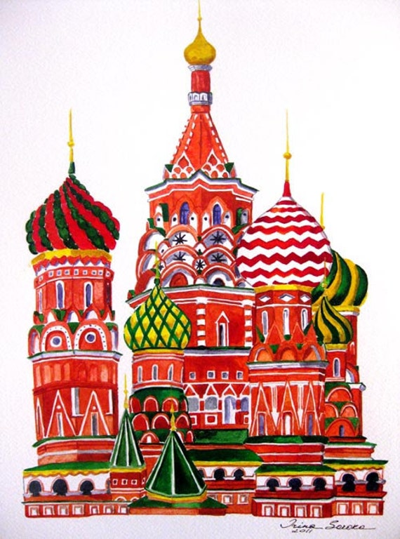 Russian Cathedral print of an original watercolor painting