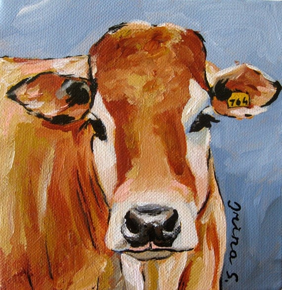 Ginger cow original painting on canvas for How paint on canvas