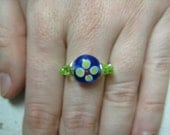 Blue and Green Flower Wire Wrapped Ring - sized for mistynites81