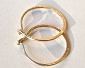 14K Gold Filled Hoops, Sturdy, Handmade Hammered
