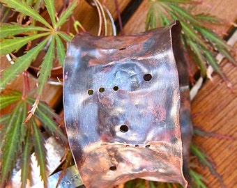 Handforged, Patinated, Flaired Wide Copper Bangle