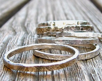 Handforged Fine Silver Stacking Rings, Set of Three
