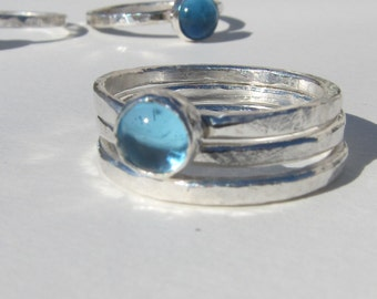 Swiss Blue Topaz, Silver Stacking Ring, Blue Stacking Ring, Sterling Topaz Ring