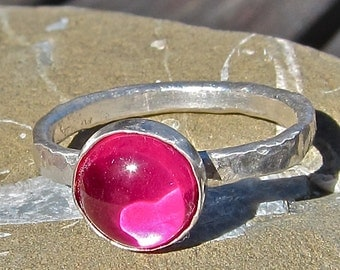 Ruby Stack Ring, Recycled Sterling Ring, Lab Grown Ruby, 8mm Ruby Ring, Ruby Sterling Ring