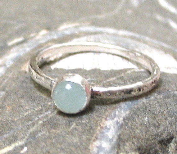 One 5mm. Aquamarine Silver Stacking Ring