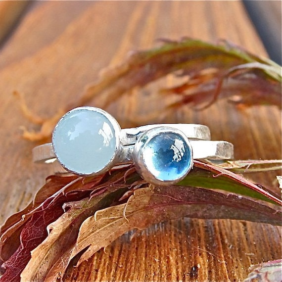 6MM. Aquamarine and Fine Silver Ring