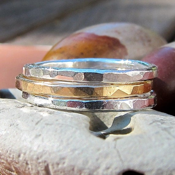 Fine Silver and 14K Gold Filled Rings X 3