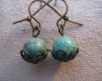 Cracked Chinese Turquoise Dangle  Earrings with Ornate Bronze Bead Caps