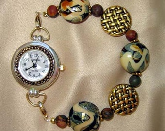 Lamp Work Interchangeable Bracelet Watch Band with Gold and Silver Watch Face