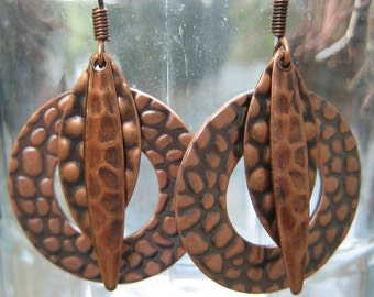 Copper Metal Dangle Earrings with 2 Hammered Different Sized Ovals and Hammered Donut