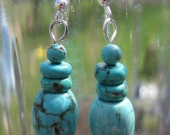 Turquoise Dangle Earrings with Sterling Silver Earwire