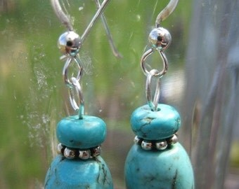 Turquoise Tube Dangle Earrings Strung on Sterling Silver Earwire