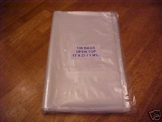 100 Clear Plastic 1 Mil 17x21 Poly Bags 17 x 21 Open Top