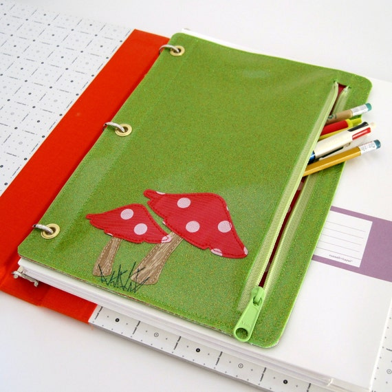 Vinyl Pencil Pouch for Three Ring Binder, Toadstools Design, citron green sparkle vinyl / white on red polka dot oilcloth