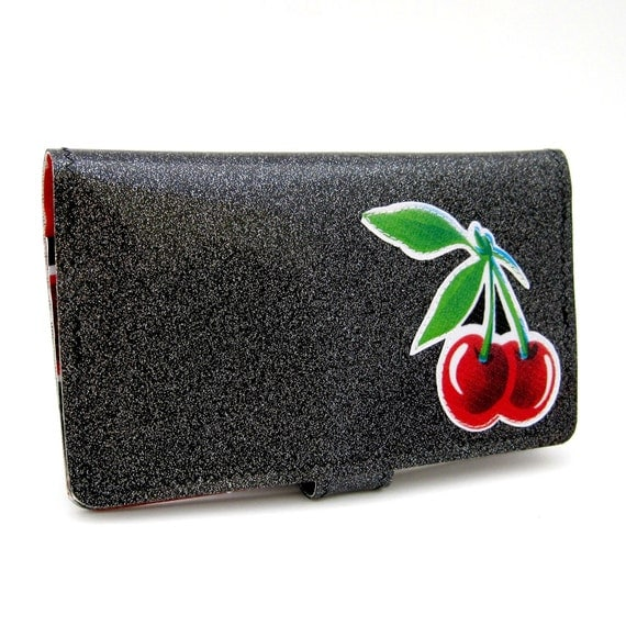 Vinyl Checkbook Cover Wallet, Deluxe Style with Appliqued Cherries, deep black sparkle vinyl / black cherries and solid red oilcloth