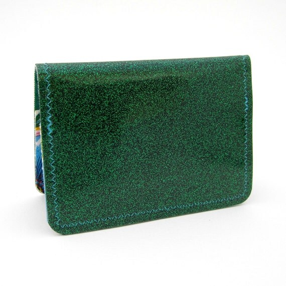 Vinyl Mini Wallet / Card Holder, emerald green sparkle vinyl / blue blooms and solid green oilcloth