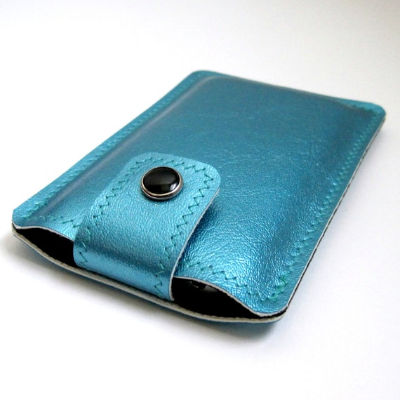 Vinyl iPhone Case with Snap Tab Closure, turquoise blue metallic / jet black ultrasuede, fits iPhone 4 and 4s