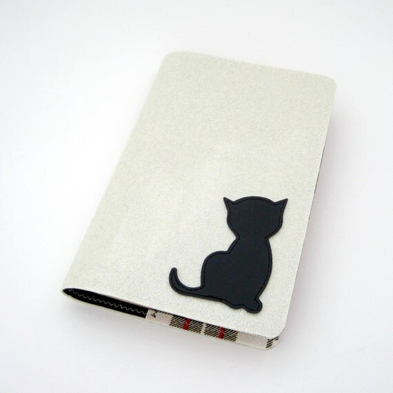 Black Kitten - Small Vinyl Paperback Book Cover in white silver sparkle and black matte vinyl / solid black and black plaid oilcloth
